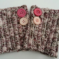 Upcycled boot cuffs women's multi color with 2 buttons.