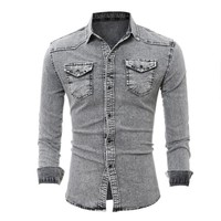 new Men Long Sleeve Casual Solid Denim Shirts