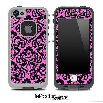 Delicate Pattern Black and Pink Skin for the iPhone 5 or 4/4s LifeProof Case