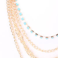 Light Blue Rhinestone Draped Cute Summer Necklace