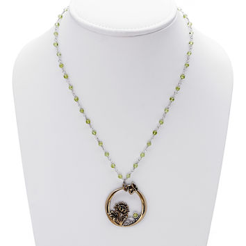 William Morris Hyacinth Peridot, Bronze And Sterling Silver Necklace