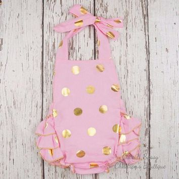 Pink Polka Dot Romper - baby romper- Baby Bubble Romper- Ruffle Romper - Gold Polka dot- toddler romper- girl birthday outfit
