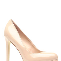 Nude Faux Patent Leather Round Toe Pumps