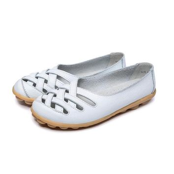 Shoes For Woman 2017 Genuine Leather Women Shoes Flats 7 Colors Loafers Slip On Women's Flat Shoes Moccasins Plus Size