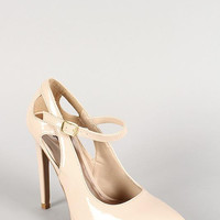 Qupid Patent Mary Jane Cut Out Pointy Toe Pump Color: Black, Size: 8