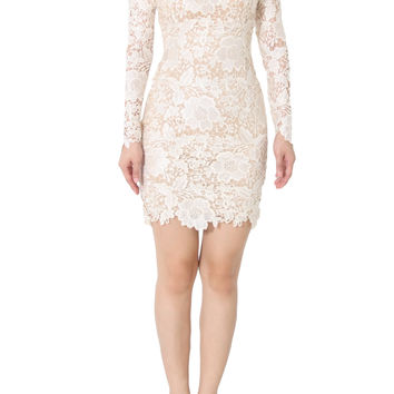 ARIANNE Embroidery Lace Long Sleeve Dress In Beige
