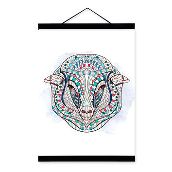 Modern Ancient African National Totem Animals Sheep Head A4 Scroll Canvas Painting Wall Art Print Picture Poster Home Decoration