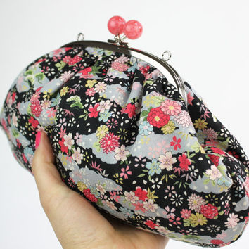 Floral Kimono Style Fabric Clutch Bag, Chain Included