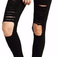 Women's Black Cropped Ripped Skinny Jeans