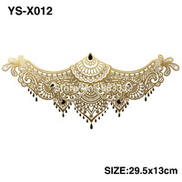YS-X012 GOLD DIY Chest Flowers BIG Tattoo Stickers Colorful Hot Flashes Waterproof Tatoo Body Art Temporary TATTOO Sticker