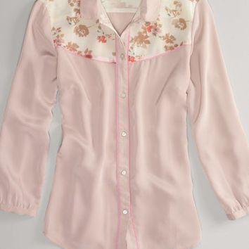 AEO 's Floral Chiffon Poet Blouse (Pink)