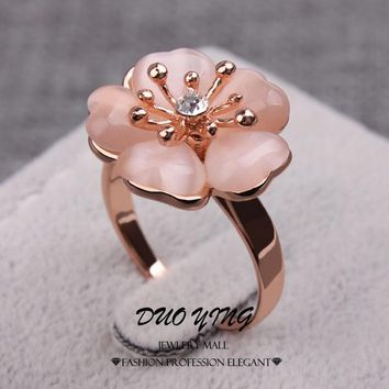 WinWinWin  Young Ladies Rings Anel Ouro Kpop Anillos  Rose Gold Filled Sweet Orange Opal Flower Engagement Rings For Women