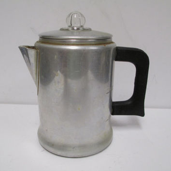 Comet  2 cup Coffee Pot  Aluminum Percolator with Glass Knob  Atomic Age Camping Hiking