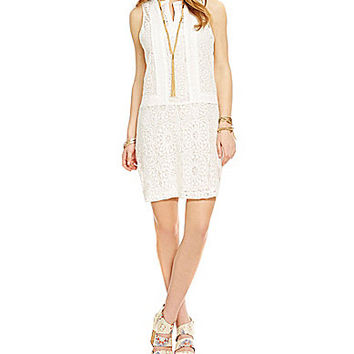 GB Contrast Panel Lace Dress - Ivory