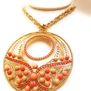 Statement Versatile Orange Pendant Necklace 30""