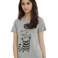 Disney Alice In Wonderland Cheshire Cat We're All Mad Here Girls T-Shirt