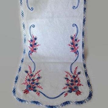 Vintage Dresser Scarf, Table Runner, Embroidered Design, Blue and Pink, Flowers, Cottage Chic Linens, Bureau Scarf