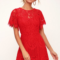 Pearson Red Lace Short Sleeve Dress