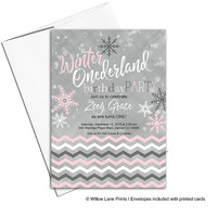 Winter onederland invitation first birthday party invitations for girls birthday | winter onederland birthday printable printed - WLP00327