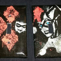 Harley Quinn black light switch covers handmade 2 styles to choose from