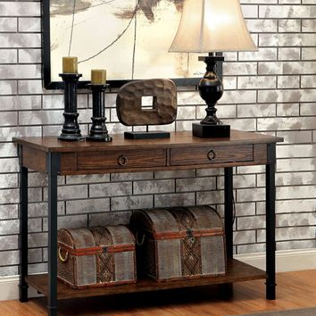 Page collection transitional style medium weathered oak finish wood and metal frame console entry sofa table