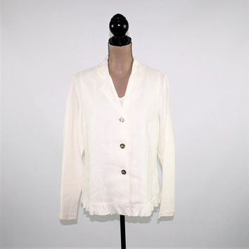 White Linen Jacket Women Lightweight Summer Jacket Boho Ruffle Light Jacket Hot Cotton Medium Large Vintage Clothing Womens Clothing