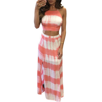 Sexy Crop Tops + Long Skirt Women 2 Piece Set Summer