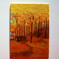 "Cabin In Treman State Park (ORIGINAL ACRYLIC PAINTING) 5"" x 7"" by Mike Kraus"