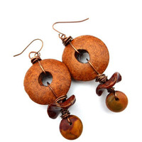 Nature. Wood, jasper stone, ceramic beads. Earrings. Copper jewelry
