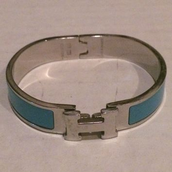 Authentic Hermes Clic Clac H Bangle Bracelet Glacier Blue Silver Tone