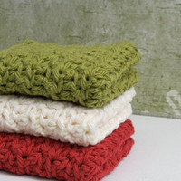 Crocheted Dishcloths, Washcloths, Cotton, Eco friendly, Country Kitchen Decor - Ready to ship, by Nykki Makes