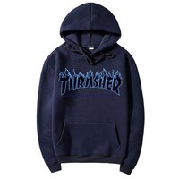 Thrasher autumn and winter tide brand classic print logo couple models hooded sweater Navy Blue