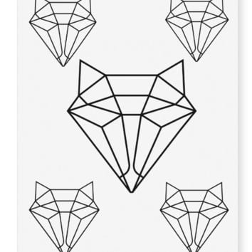 Geometric Fox Temporary Tattoos