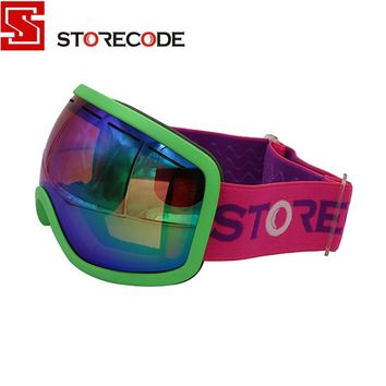 StoreCode Brand Ski Goggles Double Lens Anti-Fog UV400 Snowboard Glasses Men Women Green Frame Skiing Snow Goggles Set 670