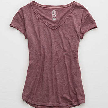 Aerie Real Soft® V-Neck Tee, Deep Plum