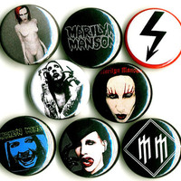 Marilyn Manson button badge pin set lot collection of 8