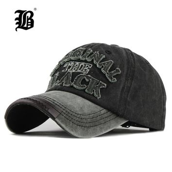 [FLB] Hot Retro Washed Baseball Cap Fitted Cap Snapback Hat For Men Bone Women Gorras Casual Casquette Letter Black Cap F122