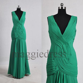 Custom Green Ruffle Long Prom Dresess Bridesmaid Dresses 2014 Evening Gowns Formal Party Dresess Homecoming Dresses Party Dress Formal Wear