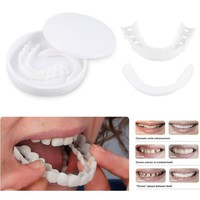 New 2Pcs Upper+Lower False Teeth Veneers with Box Perfect Smile Fit flex Cover Comfort White Teeth For Oral Care In Stock TSLM2