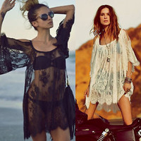 Sheer White/Black Lace Beach Dress Summer Boho Blouse T Shirt Mini Skirt