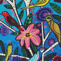 Modern cross stitch kit by Heather Galler 'Blue toile birds'