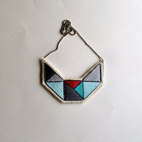 Small embroidered geometric necklace bib in mint green grays and violet triangles dramatic design