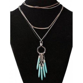 Faux Turquoise Bullet Shape Sweater Chain - Silver
