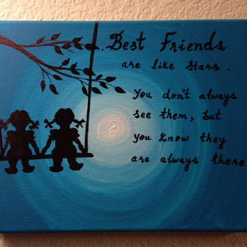 Friendship quote best gift Canvas quotes Best friends forever Acrylic painting Canvas art Friend gifts Tree swing Wood Swing Children decor