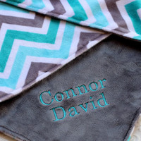 Personalized Baby Blanket or Lovey - Teal & Charcoal Grey Chevron - Baby Bedding - Baby Girl or Boy Blanket - Double Minky, Cuddle Minky