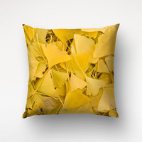 Ginko Leaves Throw Pillow, Nature Photography, Living Room Decor, Yellow Pillow Cover