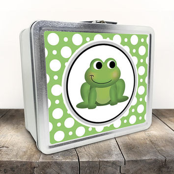 Cute Frog Lunch Box - Green Polka Dot Pattern - Cute Froggy Cartoon Illustration - Tin School Lunch Art Craft Supplies Box