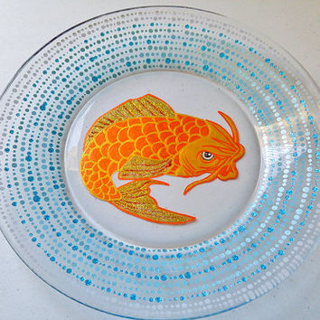 Koi Fish Plate, Sushi Plate, Tattoo Design Dinnerware, Ocean, Urban, Goldfish Plates, Asian Dinnerware, Painted Glass, Dining,  Gift Set