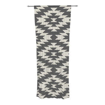"Amanda Lane ""Southwestern Black Cream"" Tribal Geometric Decorative Sheer Curtain"
