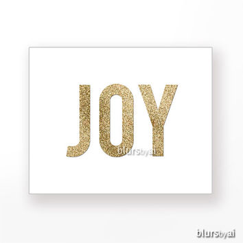 "Gold Christmas printable art "" Joy "" gold glitter typography quote print, holiday wall decor, printable poster pdf, gold word -pp92"